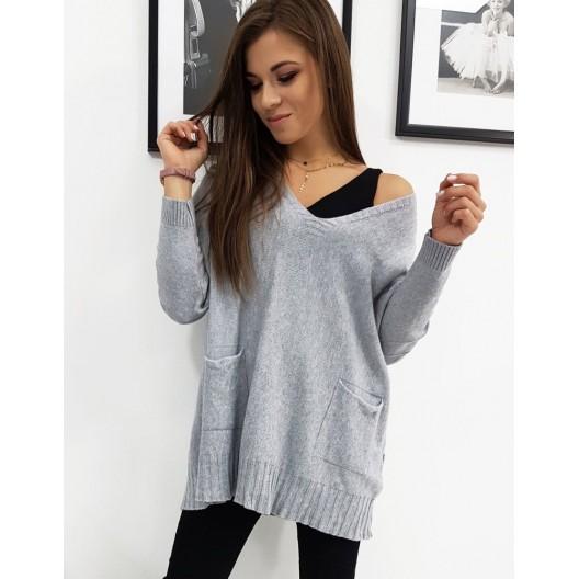 Dámsky sveter v sivej farbe na jar