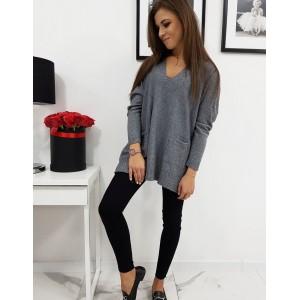 Tmavosivý dámsky sveter s dlhým rukávom