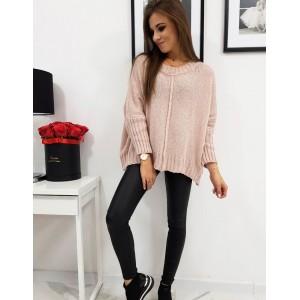 Dámsky pletený sveter v ružovej farbe