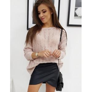 Pletený dámsky sveter v ružovej farbe
