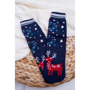 Modré dámske ponožky vianočné