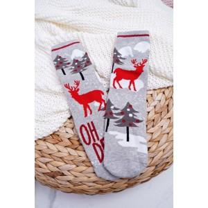 Sivé teplé ponožky s motívom soba