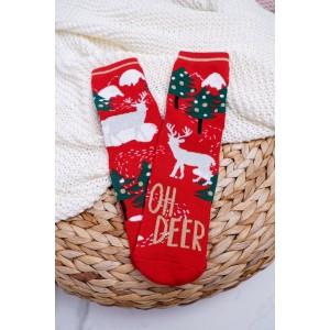 Dámske ponožky na vianoce v červenej farbe