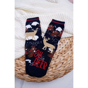 Čierne vianočné ponožky s motívom soba