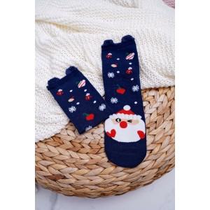 Ponožky v modrej farbe s vianočným motívom
