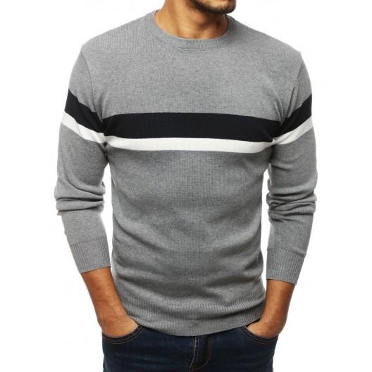 Štýlový pánsky sveter v sivej farbe s pásikmi