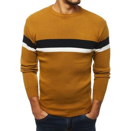 Lacný pánsky sveter na zimu v žltej farbe