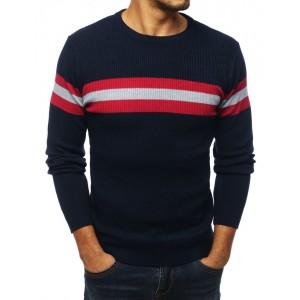 Modrý sveter pánsky s pásikmi