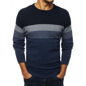 Pánsky sveter v modrej farbe na zimu