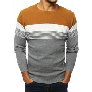 Moderný pánsky sveter v karamelovej farbe