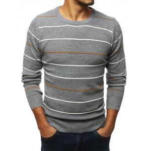 Pásikavý sivý sveter pre pánov