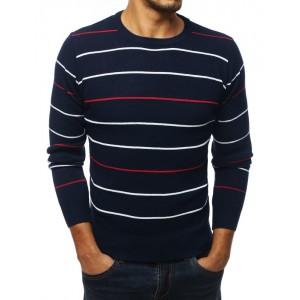 Moderný pánsky sveter v modrej farbe s pásikmi