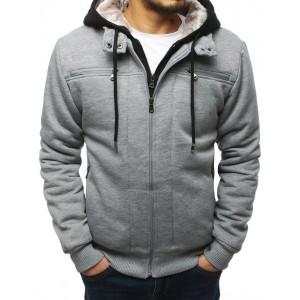 Štýlová pánska prechodná bunda v sivej farbe