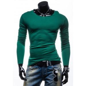 Moderné bavlnené zelené pánske tričko s dlhým rukávom