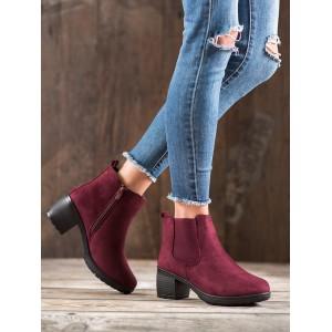 Kotníkové dámske semišové topánky v bordovej farbe