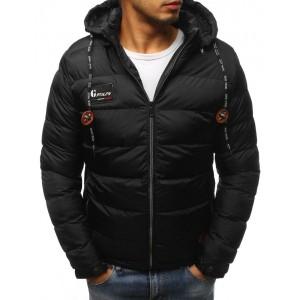 Pánska čierna zimná bunda s kapucňou