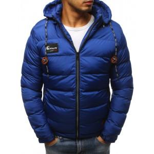 Modrá pánska zimná bunda s prešívaním