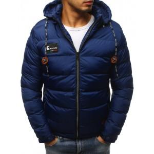 Pánska tmavomodrá zimná bunda s kapucňou
