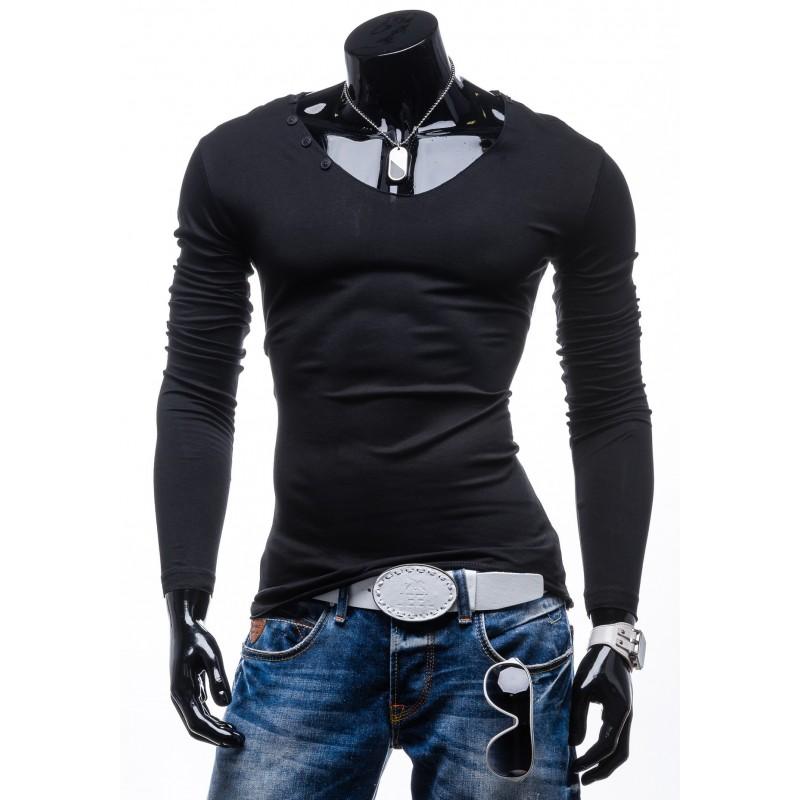dcf1da098f1a Predchádzajúci. Elegantné čierne pánske tričko s dlhým rukávom ...