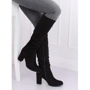Čierne dámske semišové čižmy pod kolená