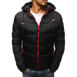 Pánska zimná bunda v čiernej farbe s červeným zipsom