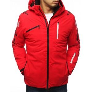 Červená lyžiarská bunda s kapucňou