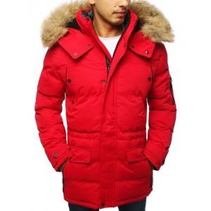 Dlhá pánska zimná bunda s kožušinou v červenej farbe