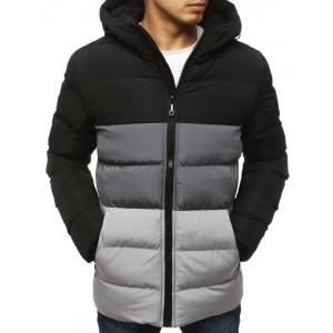 Moderná pánska čierna zimná bunda s kapucňou