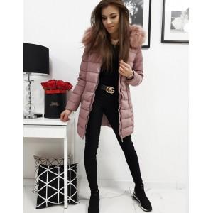 Prešívaná dámska zimná bunda s kožušinou