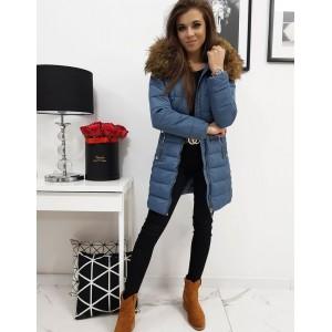 Dámska prešívaná zimná bunda s kožušinou v modrej farbe