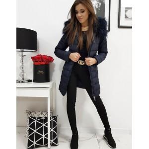 Modrá dámska zimná bunda s odnímateľnou kapucňou