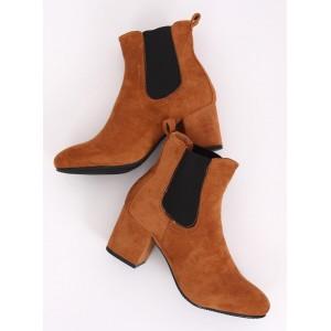 Hnedé dámske kotníkové topánky