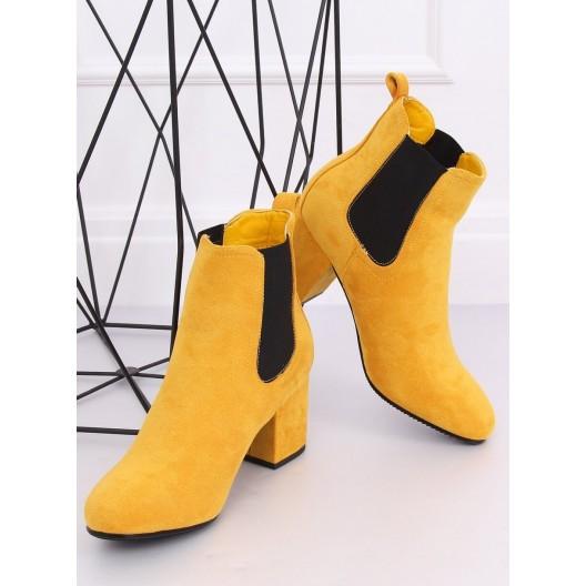 Dámske semišové kotníkové topánky v žltej farbe
