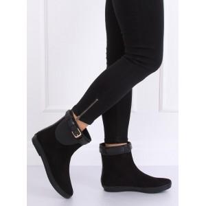 Členkové dámske gumené topánky v čiernej farbe