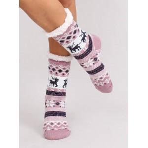 Moderné dámske ponožky ružovej farby so severským motívom
