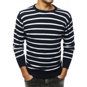 Pruhovaný pánsky sveter v modrej farbe