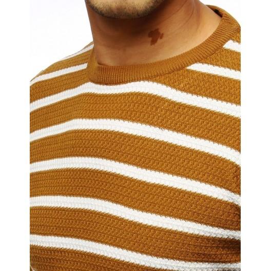 Pruhovaný pánsky elegantný sveter v žltej farbe