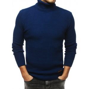 Teplý pánsky rolák v modrej farbe