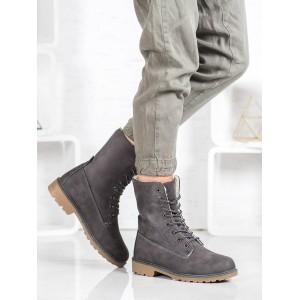 Sivé zateplené dámske topánky s kožuštekom