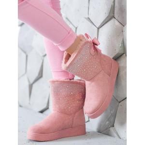 Semišové dámske snehule v ružovej farbe