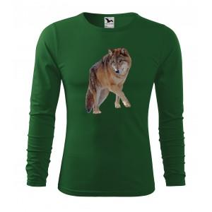 Pánske poľovnícke tričko s kvalitnou potlačou vlka s dlhým rukávom