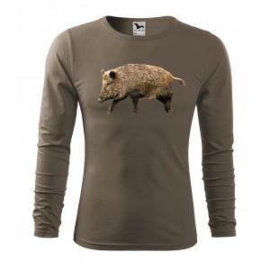 Pánske tričko pre poľovníkov s potlačou diviaka s dlhým rukávom