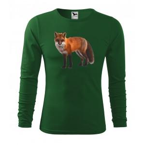 Poľovnícke bavlnené tričko s potlačou líšky s dlhým rukávom