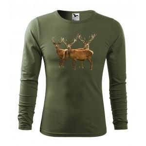 Pánske bavlnené tričko s dlhým rukávom pre vášnivého poľovníka