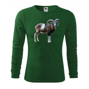Bavlnené pánske tričko s dlhým rukávom a potlačou muflóna