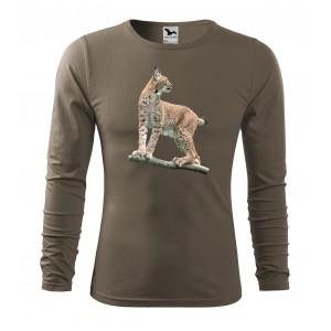 Poľovnícke tričko s motívom rys ostrovid a dlhým rukávom