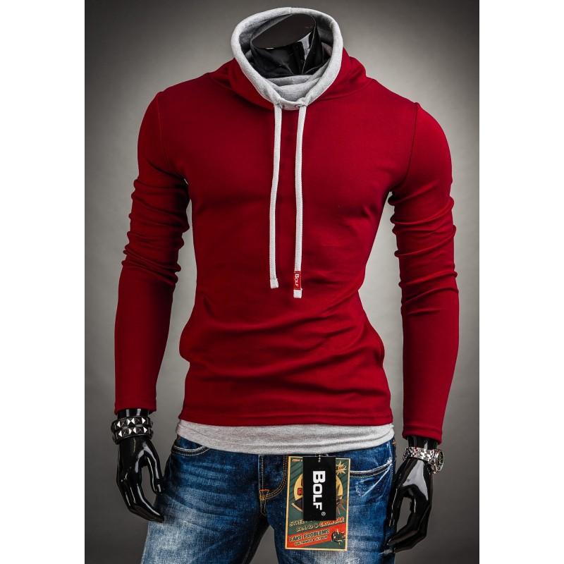 c63516dbe710 Bavlnené pánske tričko červenej farby s originálnym golierom ...