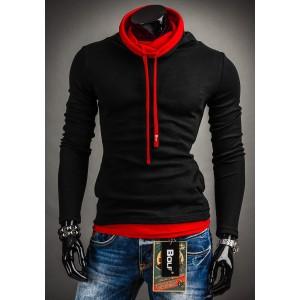 Čierny pánsky nátelník s červeným golierom a šnúrkami