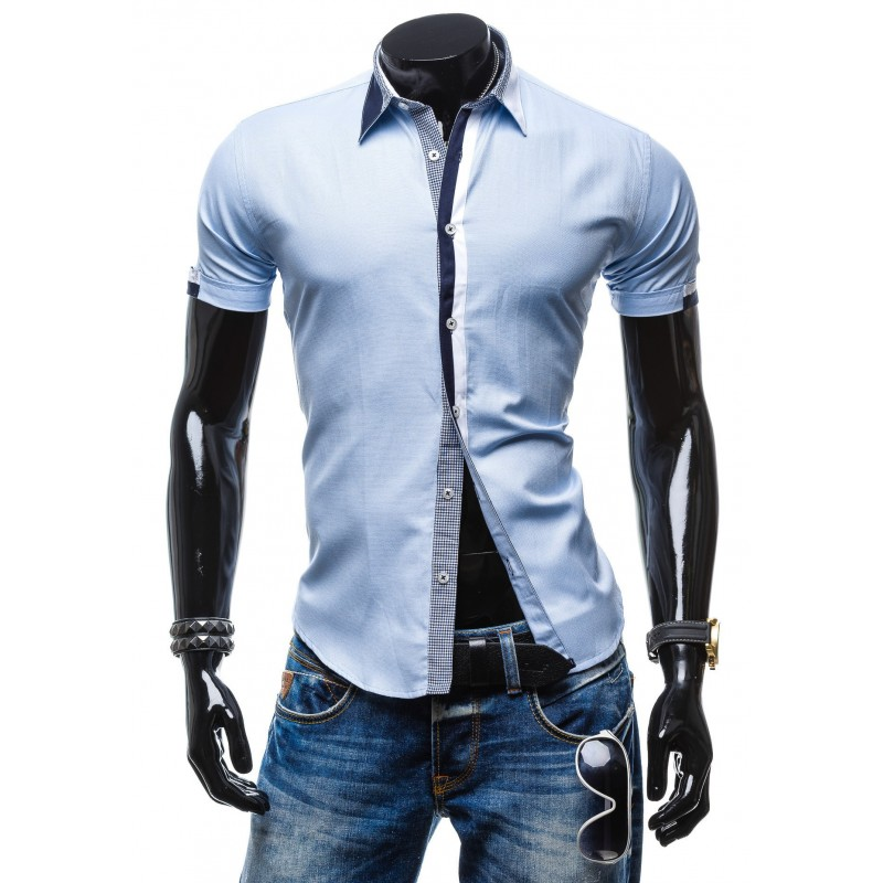 9c8439a44b31 Štýlová pánska slim fit košeľa s krátkym rukávom svetlo modrej farby ...
