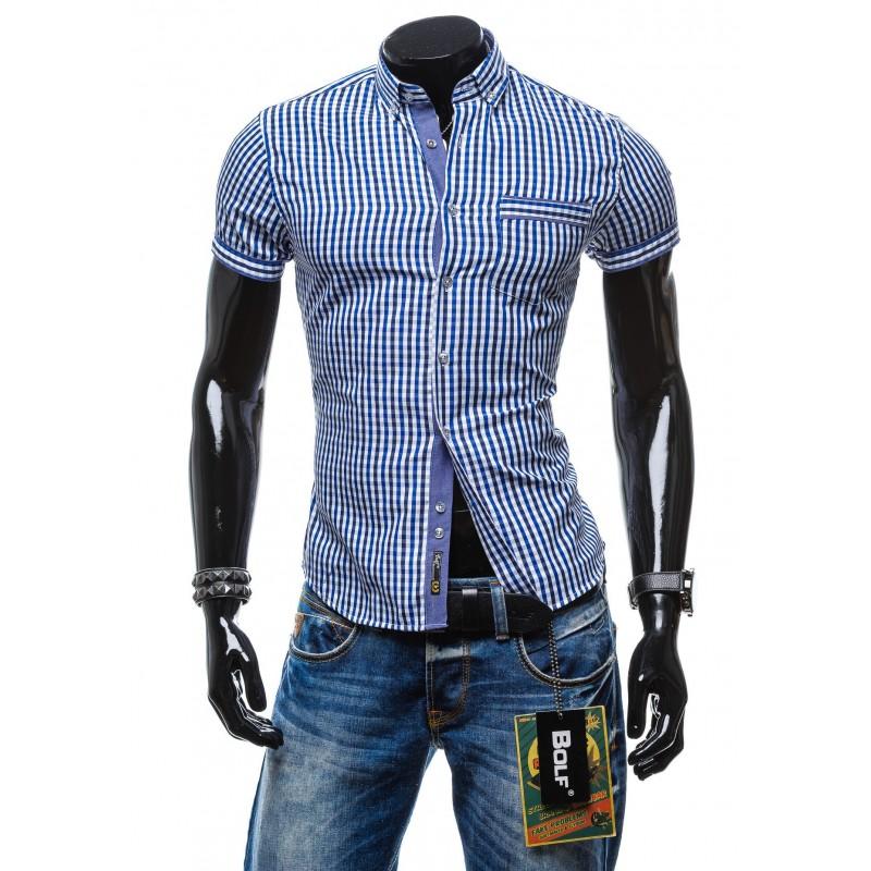 b84f26bd85bf Moderná károvaná pánska košeľa s krátkym rukávom modrej farby ...